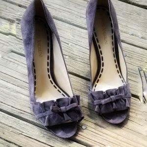 Enzo Angiolini Leather Gray peep toe Heels